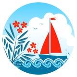 Oleander und Segelboot vektor abbildung