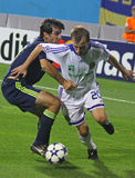 Oleg Gusev of Dynamo Kyiv (R) and Oleguer of AFC A Royalty Free Stock Photography