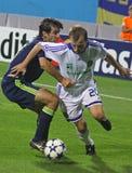Oleg Gusev van Dynamo Kyiv (r) en Oleguer van AFC A Royalty-vrije Stock Fotografie