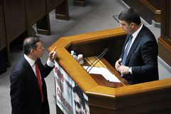 Oleg Lyashko and Volodymyr Groisman royalty free stock photography