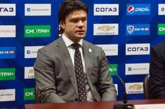 Oleg Orekhovsky on interview Royalty Free Stock Photos