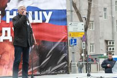 Oleg Orlov on the peace March in support of Ukraine Royalty Free Stock Photography