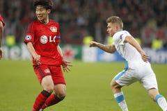 Oleg Shatov and Son Heung-Min Bayer 04 Leverkusen v Zénith Saint-Pétersbourg Champion League Royalty Free Stock Images