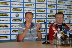 Oleg Taran during the press-conference Stock Image