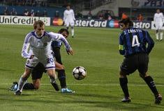 Oleh Gusev et Javier Zanetti Photos stock