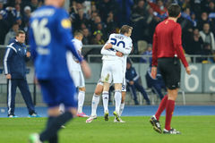 Oleh Gusev and Lukasz Teodorczyk celebrating scored goal, UEFA Europa League Round of 16 second leg match between Dynamo and Evert royalty free stock photography