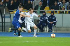 Oleh Gusev runs with ball from Seamus Coleman, UEFA Europa League Round of 16 second leg match between Dynamo and Everton Royalty Free Stock Images