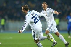 Oleh Gusev viert genoteerd doel, de Ligaronde van UEFA Europa van 16 tweede beengelijke tussen Dynamo en Everton Stock Foto's