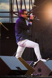Oleh Sobchuk, frontman of Sky. Oleh Sobchuk, frontman of Ukrainian rock group Sky at the concert Royalty Free Stock Image