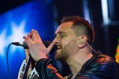 Oleh Sobchuk, Ukrainian pop-rock group SKAI, performs lyrical song at Roshen Fountain Season closing concert. Vinnytsia, Ukraine - 13.10.2018: Oleh Sobchuk, lead stock image