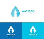 Olej i strzała w górę logo kombinaci Opadowy i wzrostowy symbol lub ikona Unikalny wody i aqua logotypu projekta szablon Obraz Stock