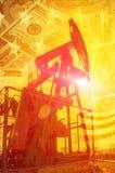 oleju gazowego przemysłu Praca nafcianej pompy dźwigarka na polu naftowym whit zdjęcia stock