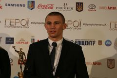 Oleksandr Khyzhniak bij persconferentie stock foto's