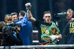 Oleksandr Usyk celebrates win after World Boxing Super Series semi final fight royalty free stock image