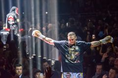 Oleksandr Usyk, vor der Welt, die Super-Reihenhalbfinalekampf zwischen Mairis Briedis und Oleksandr Usyk einpackt Arena Riga lizenzfreie stockfotografie