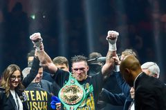 Oleksandr Usyk after win, during World Boxing Super Series semi final fight stock photos
