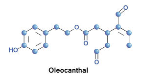 Oleocanthal is a phenylethanoid. A type of natural phenolic compound found in extra-virgin olive oil. It is a tyrosol ester and it is a non-selective inhibitor Royalty Free Stock Images