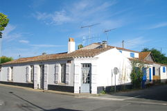 Oleron houses. Typical white houses of the oleron island on the french atlantic coast royalty free stock image