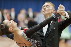 Oleshkevich Daniil and Bashlaminova Olga perform Youth-2 Standard Program on National Championship Stock Images