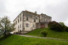 Olesko,乌克兰- 2017年5月02日:对历史的城堡的看法在Olesko,利沃夫州地区,乌克兰 库存图片