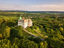Olesko Palace from the air. stock photography
