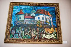 Olesko, Ukraine - July 24, 2018: Painting of a castle in an art stock image