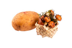 Вoletus mushrooms in a small basket. And potato tuber Royalty Free Stock Images