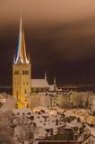 Oleviste cathedral on winter night, Tallinn, Estonia. Oleviste cathedral vertical view on winter snowbound night, Tallinn, Estonia Royalty Free Stock Photography
