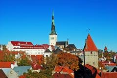 Oleviste Church and Tallinn panorama Stock Photography