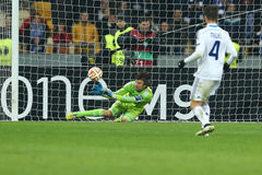 Olexandr Shovkovskiy makes a save, UEFA Europa League Round of 16 second leg match between Dynamo and Everton Stock Images