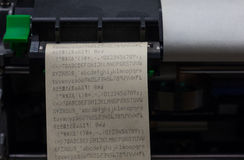 The olf  cash register with receipt ,macro Stock Image
