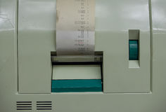 The olf  cash register with receipt ,macro Royalty Free Stock Photography