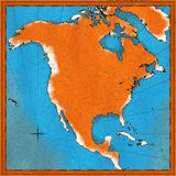 Olf map of North America Royalty Free Stock Image