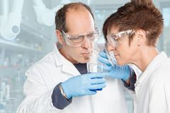 Olfactory test. The Chemist Team is smelling a chemical substance Stock Image