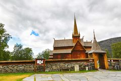Church in the town Lom. The olg wooden church in the Norwegian town Lom Royalty Free Stock Photo