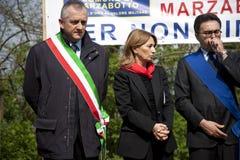 Olga D'antona in 25 april 2010 Italië, marzabotto stock fotografie