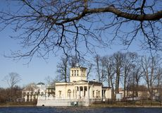Olga Pavilion on  island in Olga pond, suburb of St. Petersburg, Peterhof doesn`t belong to a palace complex Stock Photos