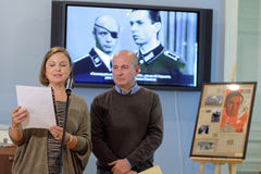Olga Semyonova during the opening of exhibition dedicated to her father Julian Semyonov Stock Images