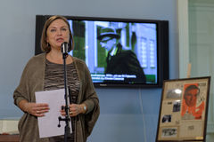 Olga Semyonova during the opening of exhibition dedicated to her father Julian Semyonov Stock Photo