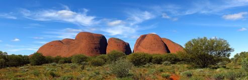 The Olgas, Northern Territory, Australia. Panorama of the Olgas, Kata Tjuta, Northern Territory, Australia stock photo