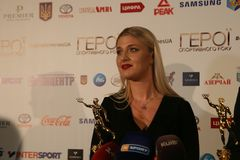 Olha Kharlan на пресс-конференции стоковое фото rf