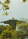 Olhando acima em Cristo a estátua do redentor de atrás Imagem de Stock