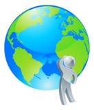 Olhando acima o conceito de prata da pessoa do globo Foto de Stock
