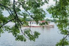 Olhando através de um courtain dos ramos das árvores no lago Alster no verão e no navio do turista de Alster em Hamburgo, Alemanh Foto de Stock Royalty Free