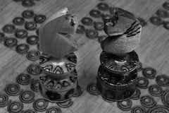 Olhando cavalos na batalha da xadrez Foto de Stock
