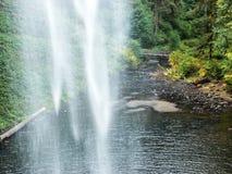 Olhando com cachoeiras na ponte de madeira do pé Imagens de Stock