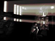 Olhando a cruz ilustração stock