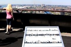 Olhando de Euromast no porto de Rotterdam, Holanda Fotografia de Stock
