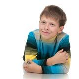 Olhando de lado o menino pensativo Fotos de Stock