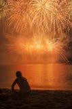 Olhando o fogo de artifício Imagens de Stock